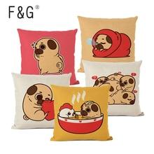 Pug Dog Cushion Cover Cute Animal Puppy Makeup To Sleep Printing Pillowcase Car Sofa Decoration Pillowcase