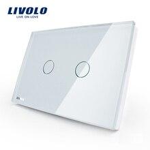 LIVOLO-interrupteur lumineux mural standard   Panneau en verre blanc et ivoire AC 110 ~ 250V, 2 gangs 1way,