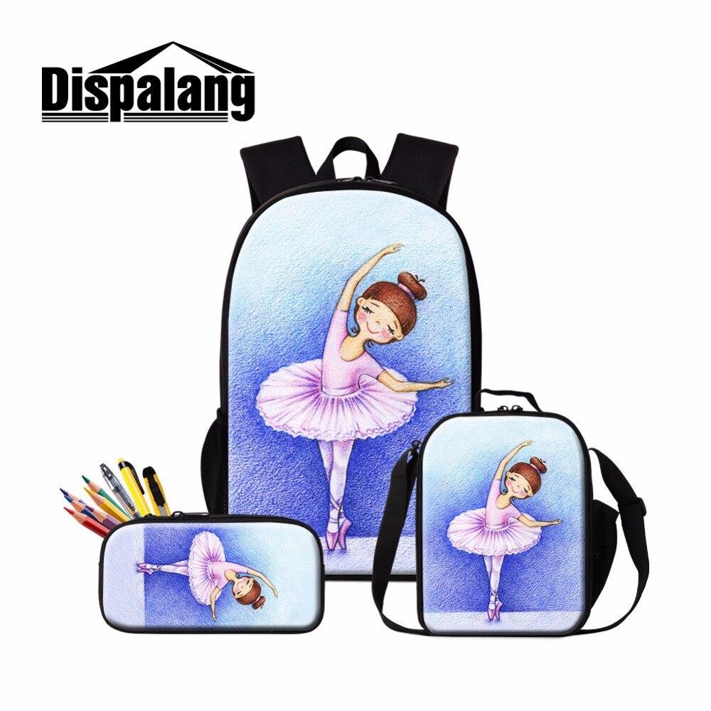 Dispalang bonito ballet meninas escola mochila e almoço bolsa conjunto bonito bookbag isolado saco mais frio para crianças caso de lápis criança