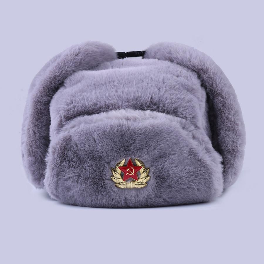 Soviet Badge Ushanka Russian Men Women Winter Hats Faux Rabbit Fur Army Military Bomber Hat Cossack