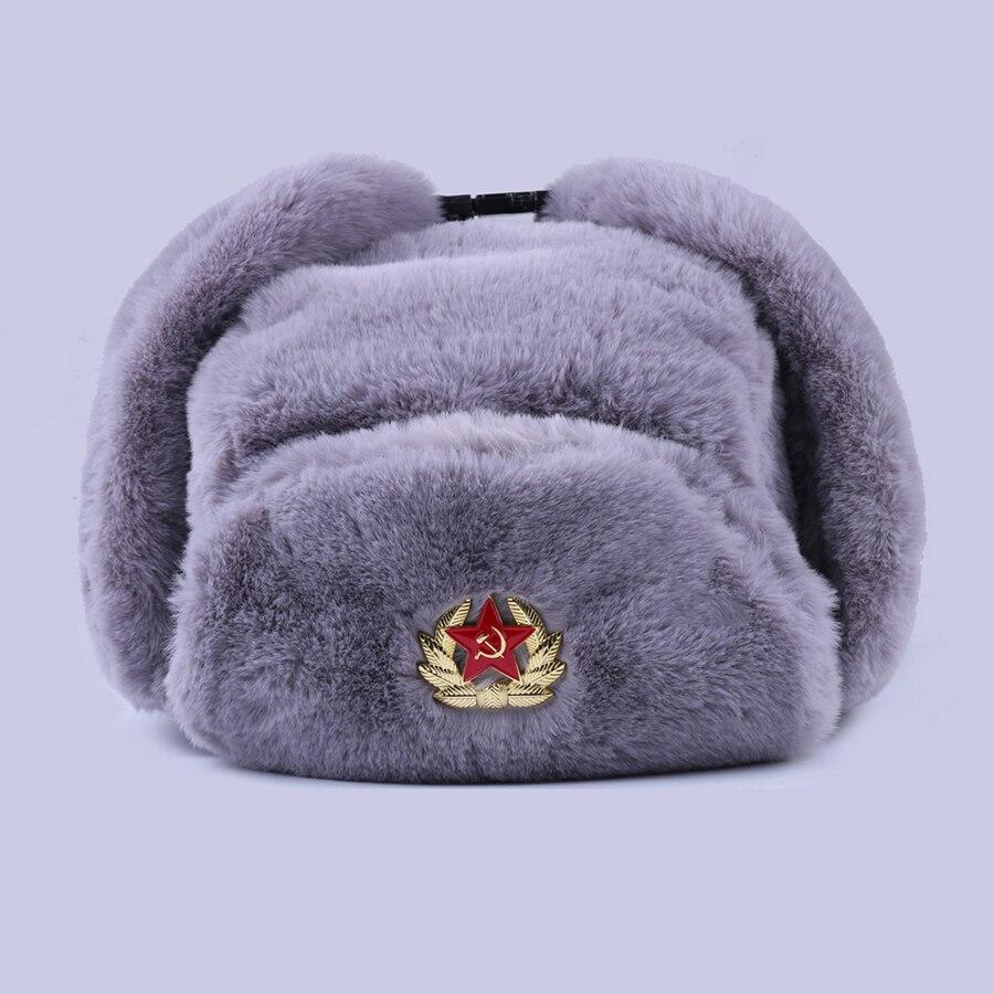 Insignia soviética Ushanka ruso hombres mujeres sombreros de invierno Faux Rabbit Fur Army Military Bomber Hat cosack Trapper gorra de esquí de nieve