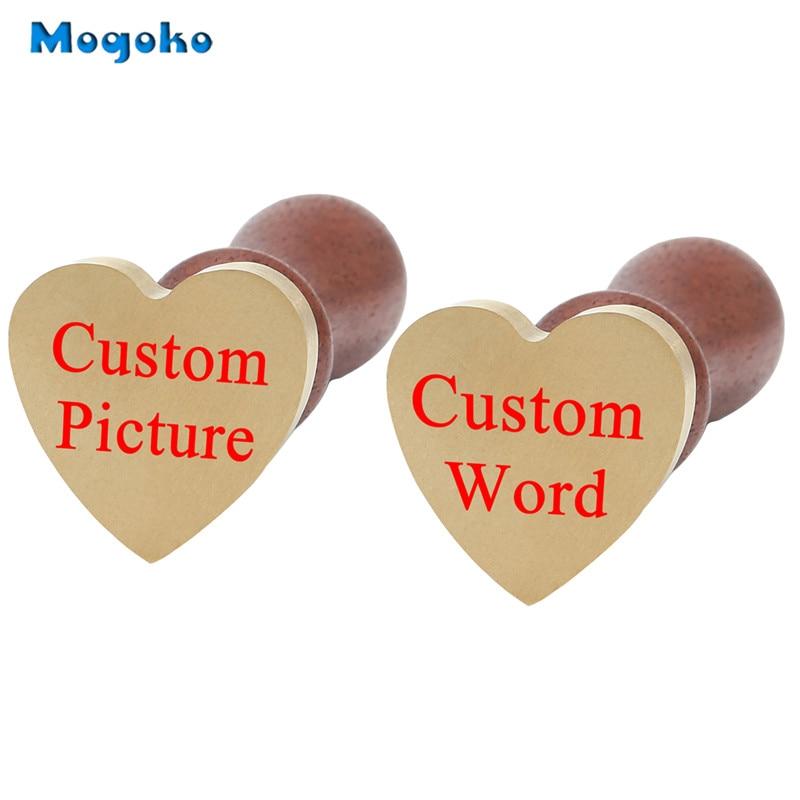 Mogoko Personalized Letter/Logo Design Custom Alphabet Engraved Vintage Retro Brass Copper Heart Wax Seal Stamp Wedding/Birthday