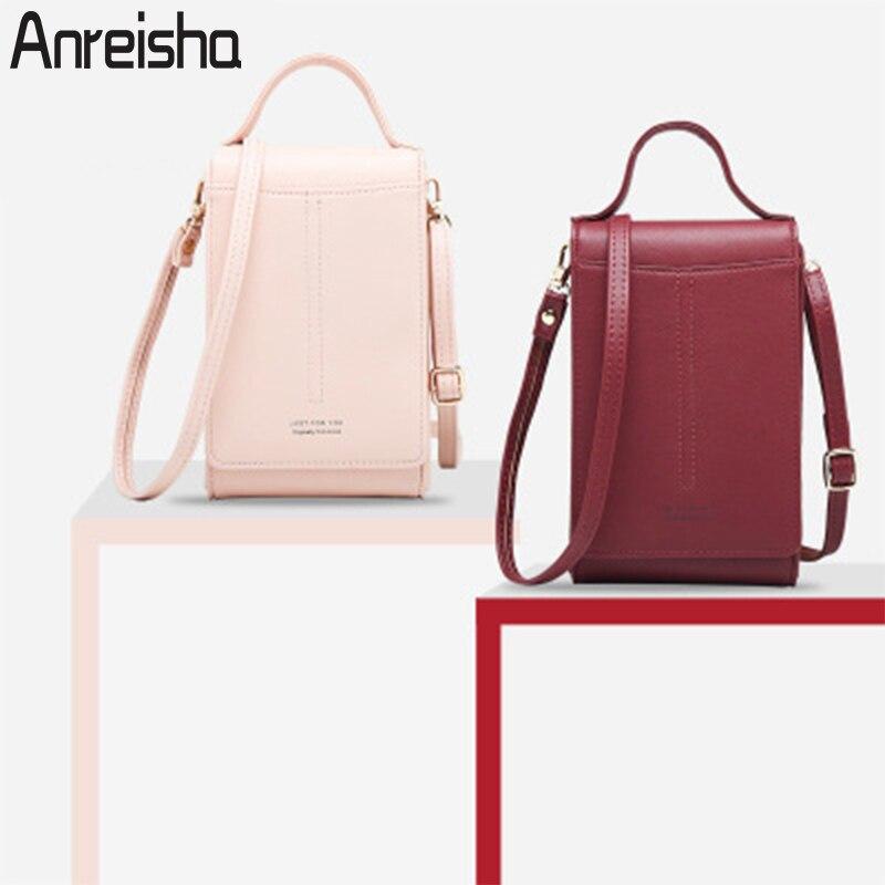 Anreisha, женские сумки для телефона, кошелек, высокая емкость, держатель для паспорта, карт, женские сумки на плечо, кошельки для телефона, модна...
