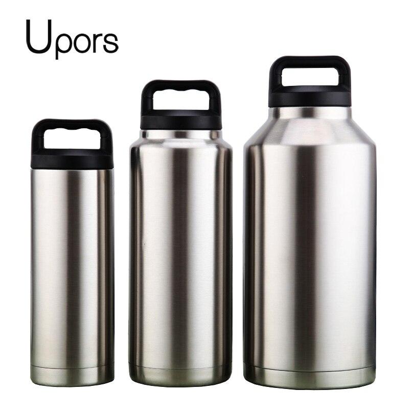 UPORS 64 унций 304 бутылка для воды из нержавеющей стали, двухслойный вакуумный чайник для пива, фляжки с ручкой, Спортивная бутылка для кемпинга ...