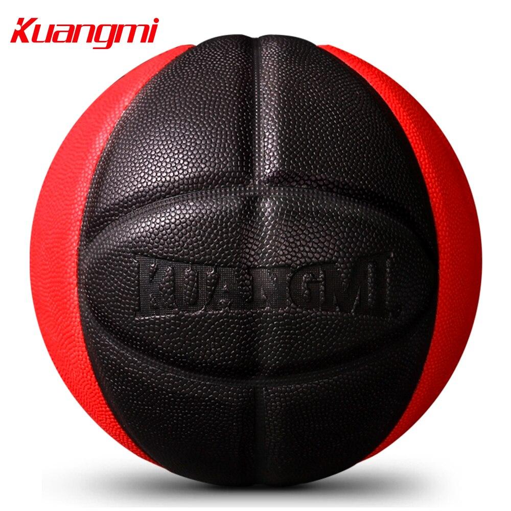 Kuangmi Baloncesto de cuero PU entrenamiento con juegos de pelota interior al aire libre Tamaño 7 libre con bolsa de Red + aguja