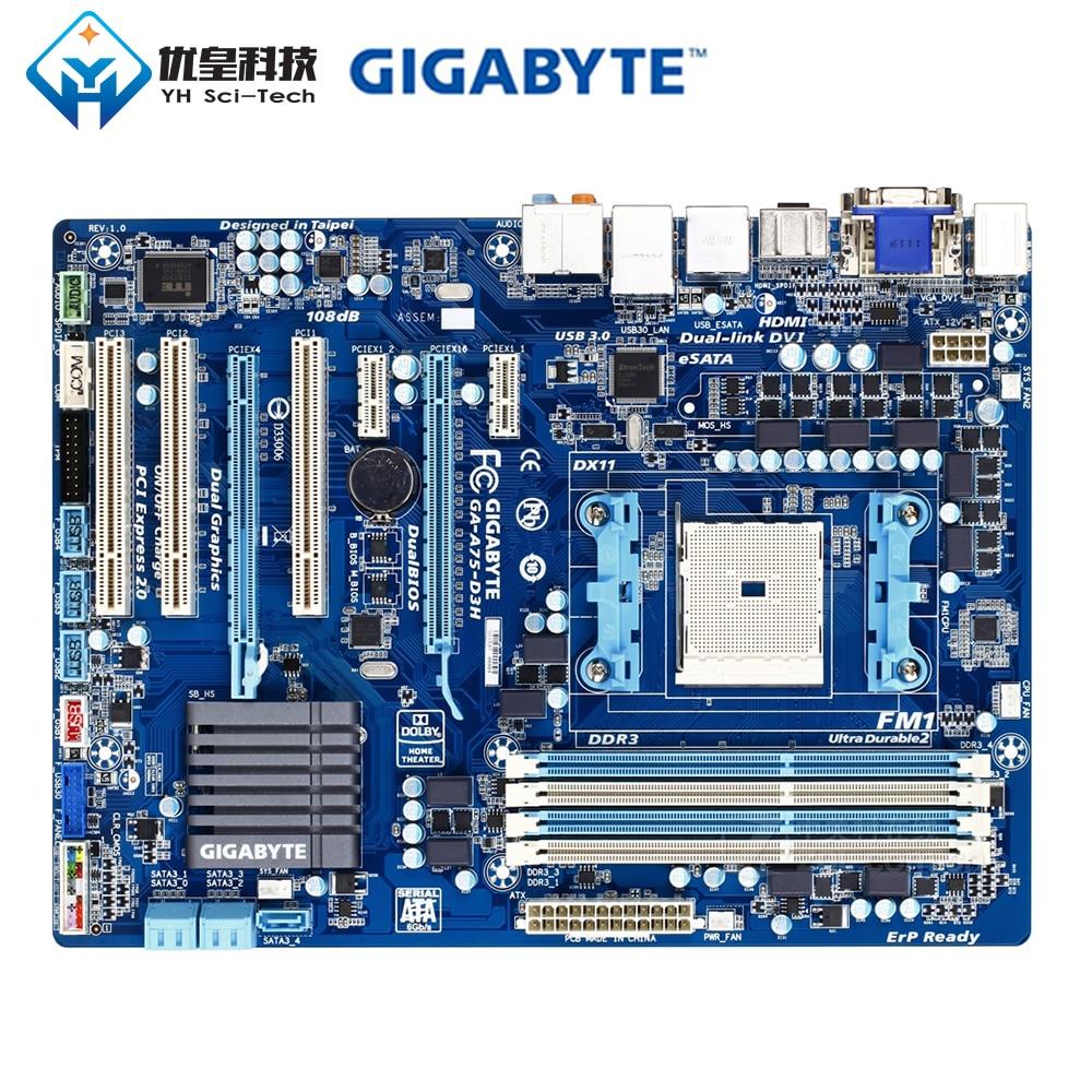 Gigabyte GA-A75-D3H ADM A75 Original Used Desktop Motherboard Socket FM1 AMD Lynx Llano Series APU DDR3 32G SATA3 E-Sata ATX
