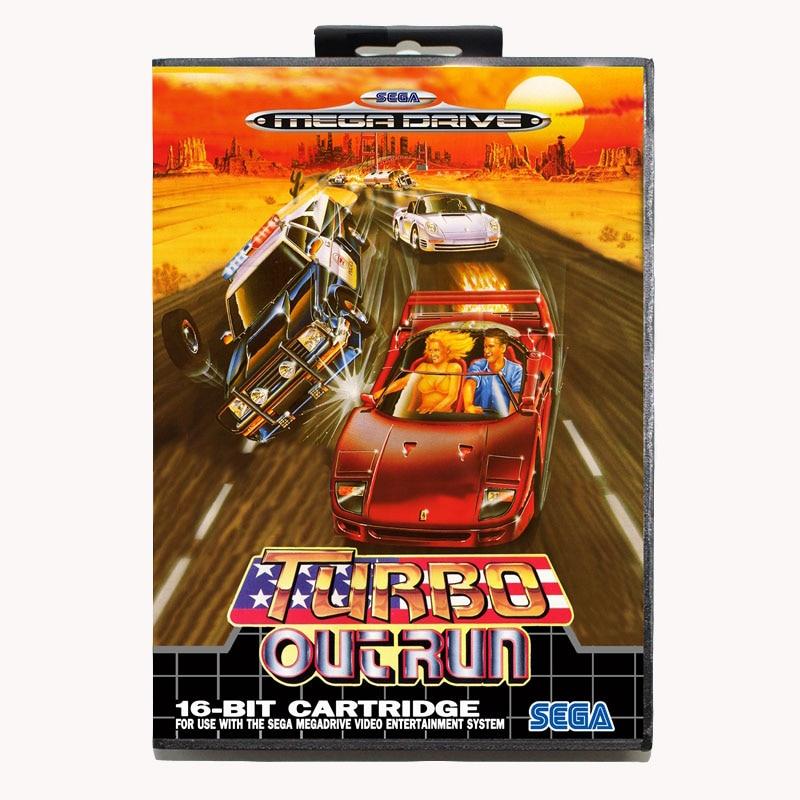 Turbo outrun 16 bits para Genesis MD tarjeta de juego con caja para Sega Mega Drive para Genesis