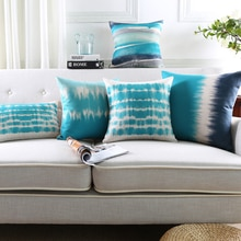 Housse de coussin en coton et lin bleu sarcelle   Couverture de coussin abstraite, imprimé aquarelle, pour la maison, en gros