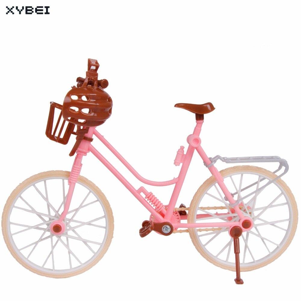 Bicicleta de plástico moderna de bicicleta rosa de alta calidad desmontable + cesta + casco de juguete al aire libre para accesorios de la muñeca Barbie Kids