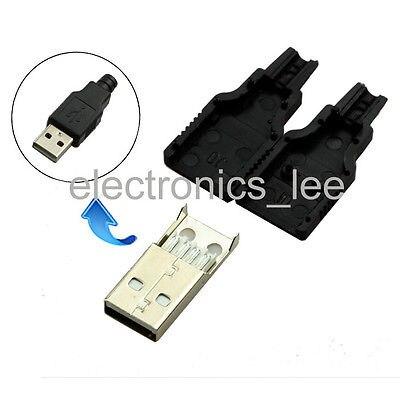 100 قطعة نوع وذكر USB 4 دبوس التوصيل المقبس موصل والبلاستيك غطاء