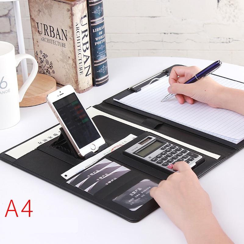 Carpeta de piel A4 PU Padfolio para trabajo ejecutivo cuaderno organizador de oficina multifunción carpetas para documentos de oficina escolar