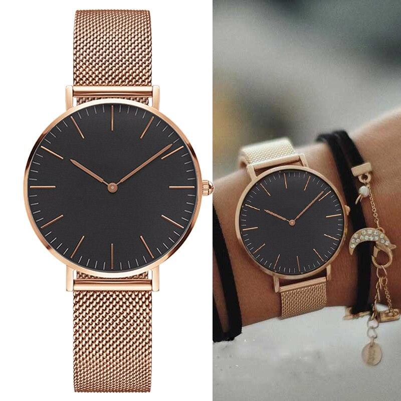 Reloj de pulsera de cuarzo con correa de acero inoxidable para mujer, reloj de pulsera ultrafino para mujer, reloj para hombre, reloj de 38mm reloj de Mujer