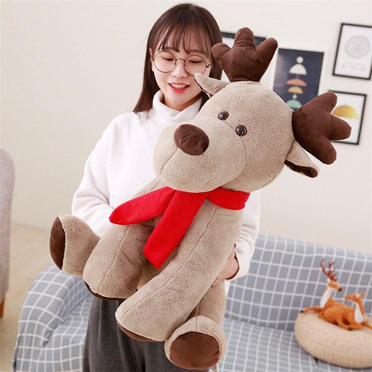 Juguete de peluche de ciervo de Navidad de 60cm de tamaño grande, almohada de Reno de dibujos animados, regalo de Navidad w0727