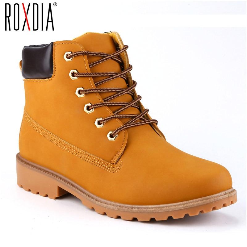 ROXDIA sztuczny zamsz skórzane buty męskie wiosna jesień i zima kobiety buty botki męskie buty zimowe praca Plus rozmiar 39-46 RXM560