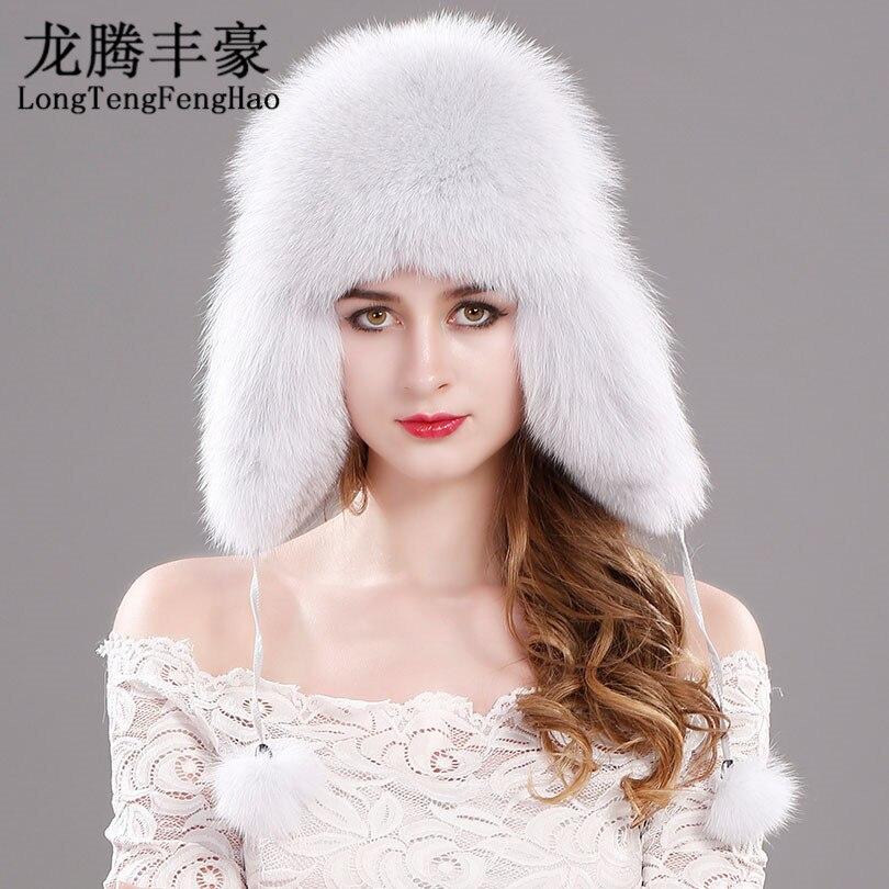رائجة البيع الشتاء المرأة الثعلب الفراء قبعة منفوخ القبعات قبعة الثلوج الفراء Millinery الروسية جلد طبيعي واقي أذن قبعة دافئة قبعة صغيرة