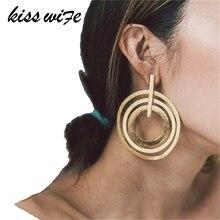 KISS żona moda damska trójwarstwowe koło wisiorek kolczyki nowy artystyczny Retro złote kolczyki geometryczne trendy kolczyki biżuteria