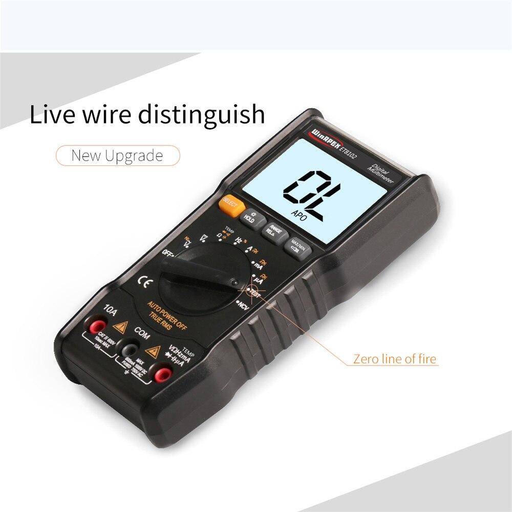 Multímetro Digital ET8102 multímetro multifunción NCV DC AC voltaje corriente diodo de resistencia valores eficaces verdaderos multímetro