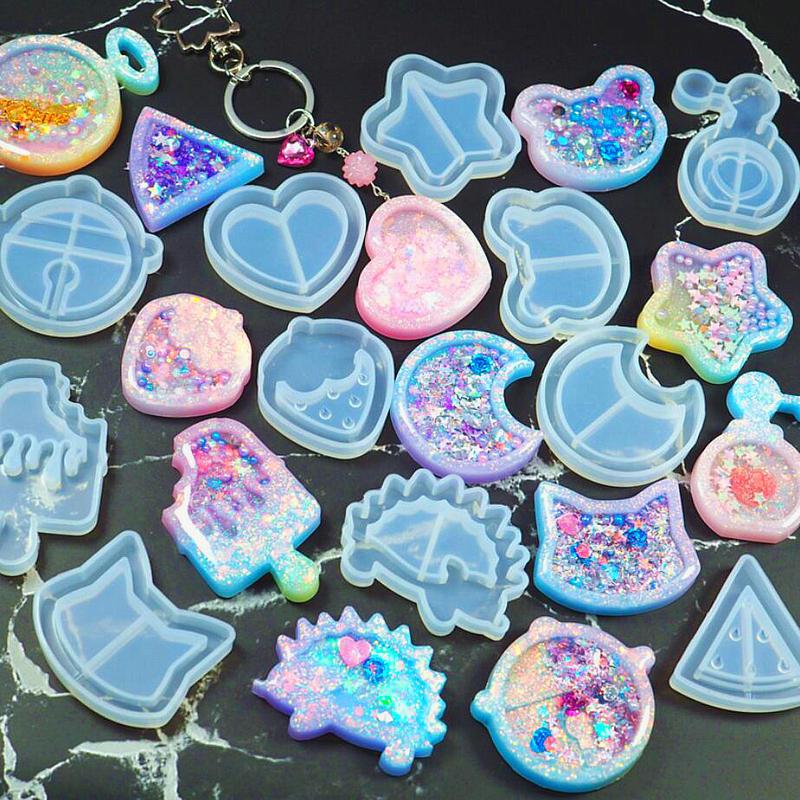 Kawaii Strawberry Shaker Silicone Molds Epoxy Resin Bear Star Popsicle Shaker Key Chain Charms Shiny Mold DIY Jewelry Craft Tool