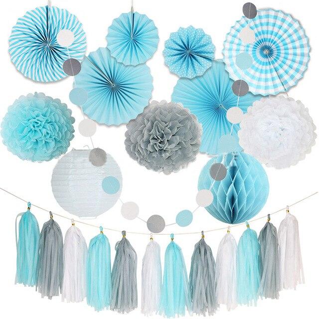 24 шт./компл. шикарный DIY Белый Серый Синий папиросная бумага Pom Flower Ball Складная Веерная гирлянда для свадьбы, дня рождения, вечеринки