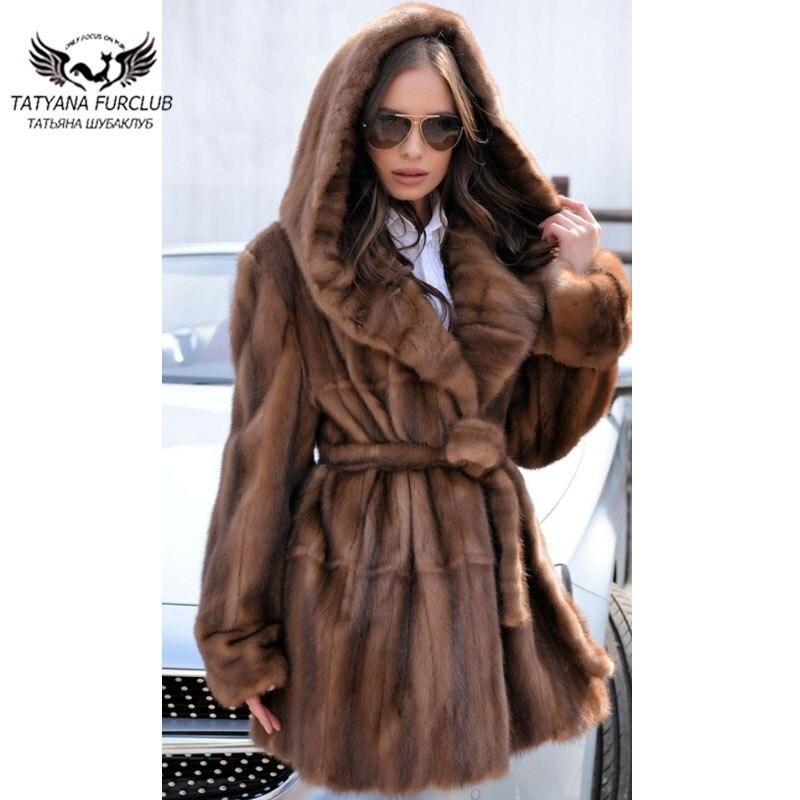 Tatyana, el tipo de abrigos de piel de visón Real más Popular del 2020, con capucha grande, chaquetas de piel de visón gruesas y cálidas para mujer, abrigo de piel a la moda