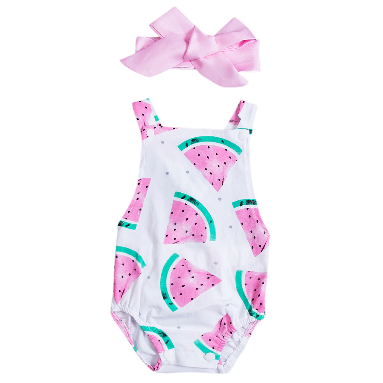 Sleeveless Watermelon Print Baby Romper with Headband For Baby Girl