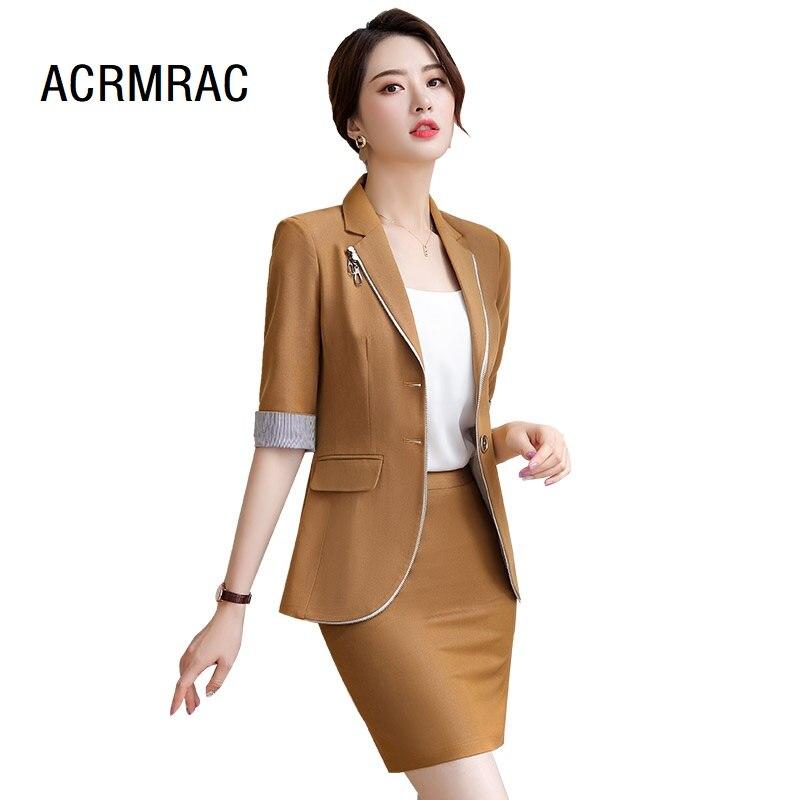 Trajes de mujer ajustado de verano chaqueta de media manga pantalones de tobillo de 2 piezas conjunto de Pantalones de mujer trajes de mujer conjunto de trajes 837