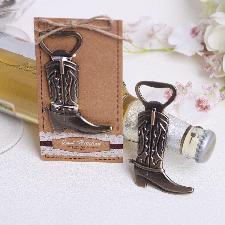 Abridor de botellas de vino con forma de bota de vaquero de bronce Vintage de 100 Uds., regalo de boda, regalo para invitados, enganche para regalo de banquete