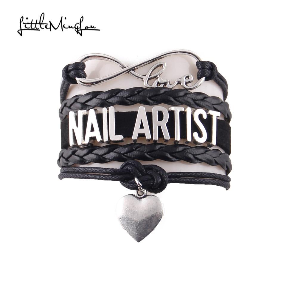 Infinity Love nail artist women bracelet stacks heart charm leather wrap women bracelets & bangles for women jewelry accessories