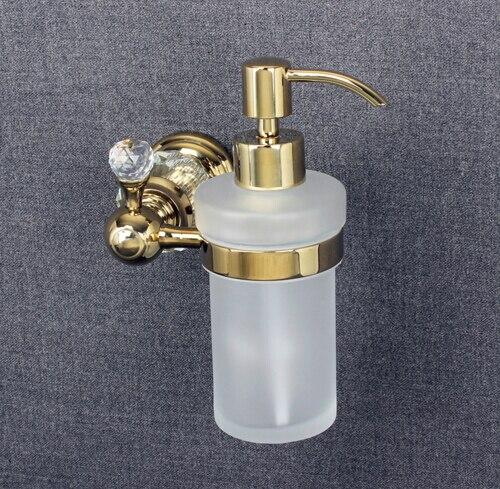 Роскошный настенный диспенсер для жидкого мыла с золотым покрытием + матовое стекло для бутылки, аксессуары для ванной комнаты