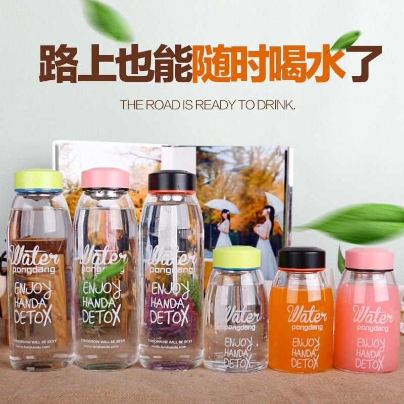 Coreano pong dang água grande capacidade garrafa de água de vidro senhora estudante moda garrafa de água criativo handcup