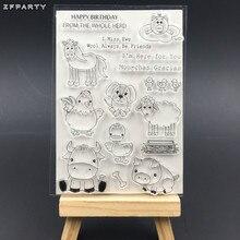 طوابع شفافة من السيليكون لمزارع الحيوانات من ZFPARTY لتزيين البطاقات/البطاقات/مستلزمات تزيين الأطفال الممتعة