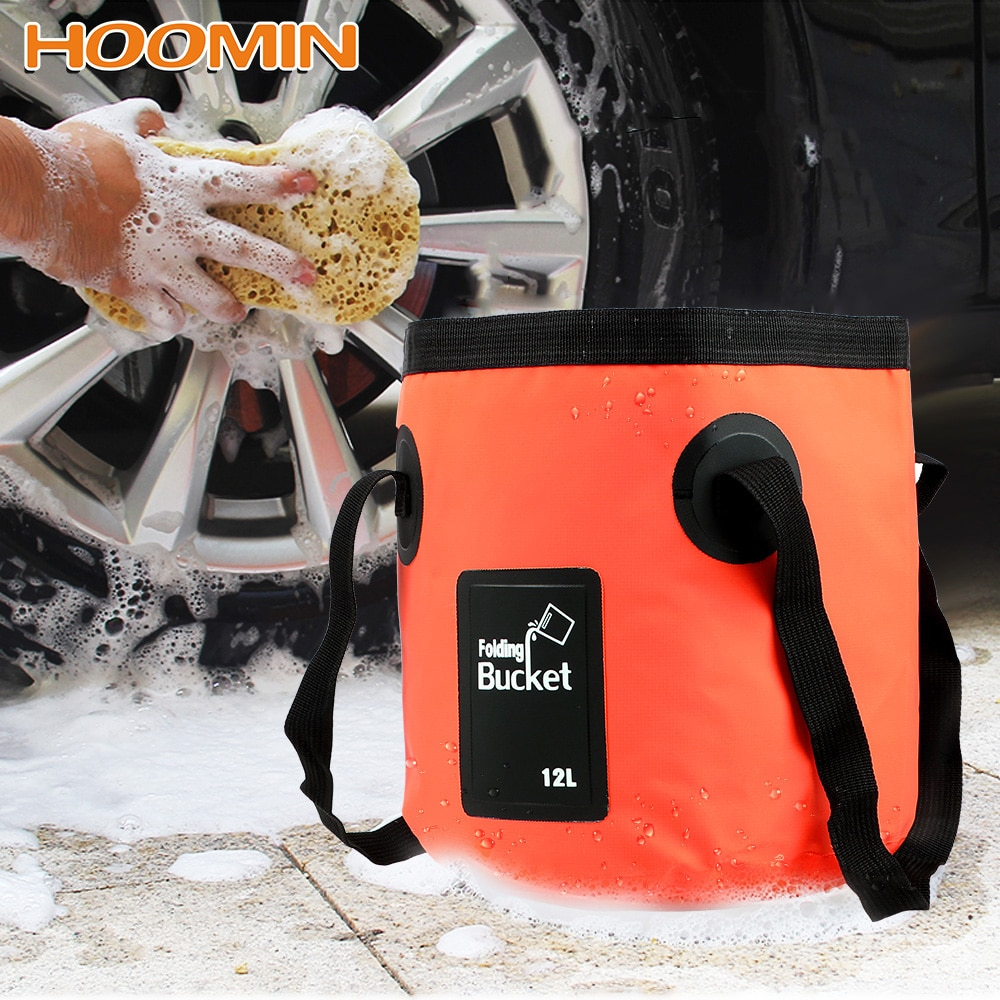 HOOMIN 12L Folding Bucket Car Wash Bucket Bowl Sink Washing Bag Portable Outdoor Travel Foldable Water Bucket