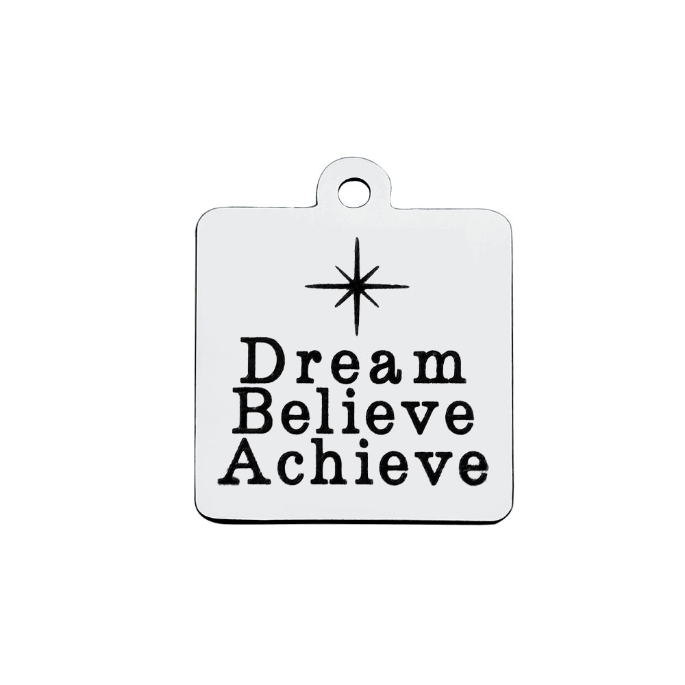 A granel 30 Uds Acero inoxidable Dream believe Achieve Charms inspiracional colgante con cita 18*21mm