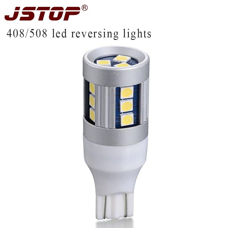JSTOP 408 508, bombillas led traseras, autoamplificador w16w, lámpara t15 blanca, luz led para coche, 12VAC 6000K, lámpara canbus 3030smdReversing
