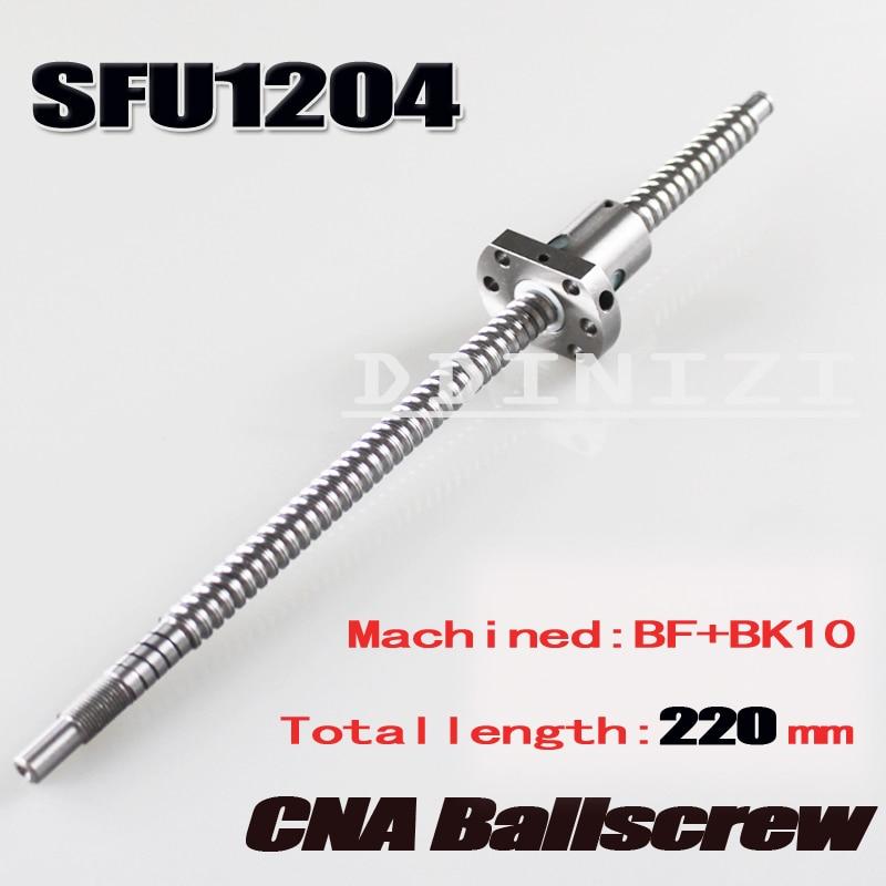 SFU1204 220mmBallscrew With SFU1204 Single Ballnut For CNC parts BK/BF10 machined Woodworking Machinery Parts Free Shipping