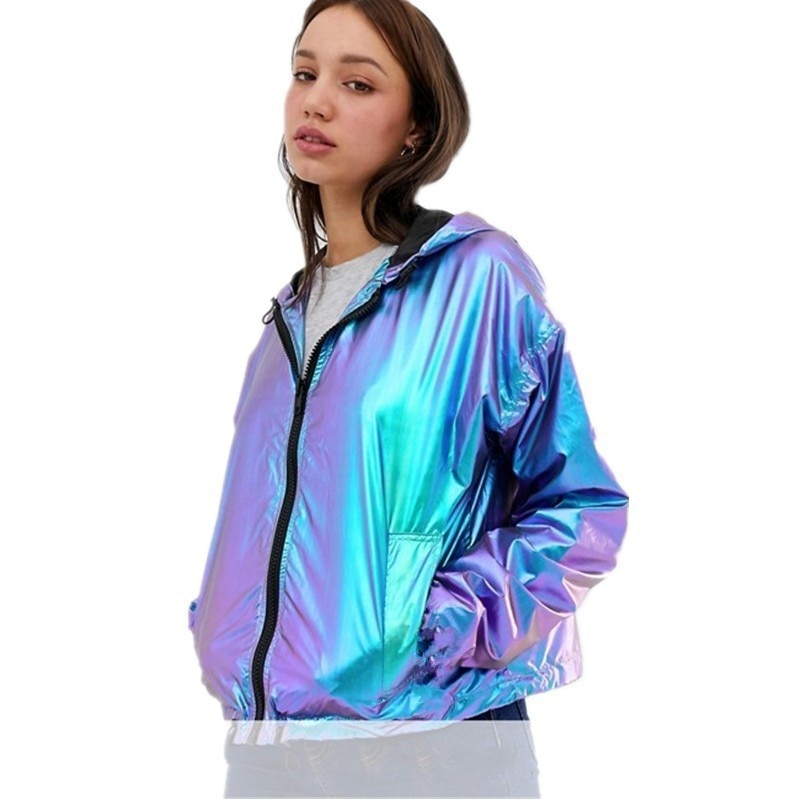 Mujeres gradiente de Metal colorido Color impermeable con capucha chaqueta con capucha de gran tamaño bomber casual abrigo suelto cremallera Cardigan Tops de manga larga