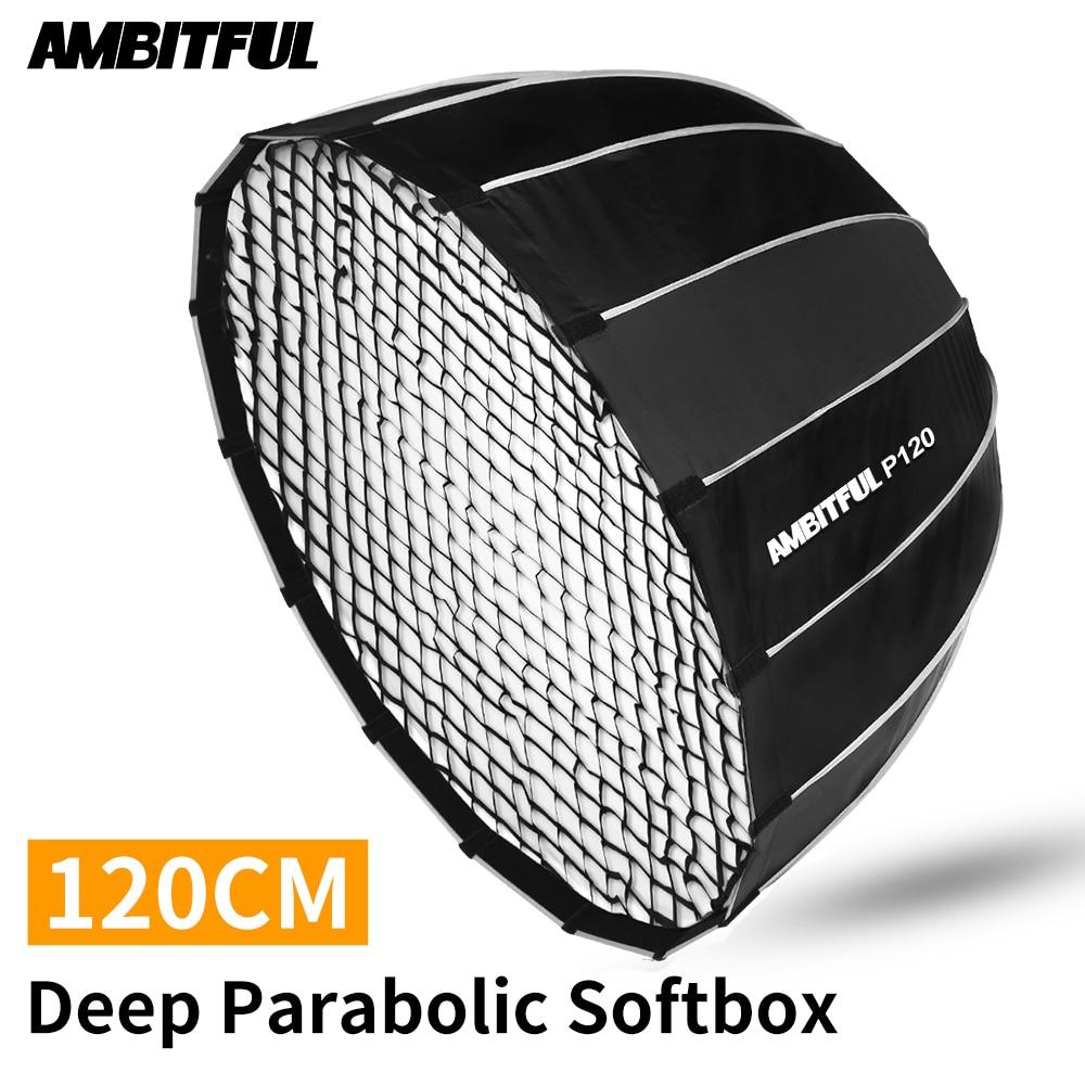 AMBITFUL P120 Portable 120CM 16 Metal Rods Deep Parabolic Softbox + Honeycomb Grid Bowens Mount Studio Flash Speedlite Softbox
