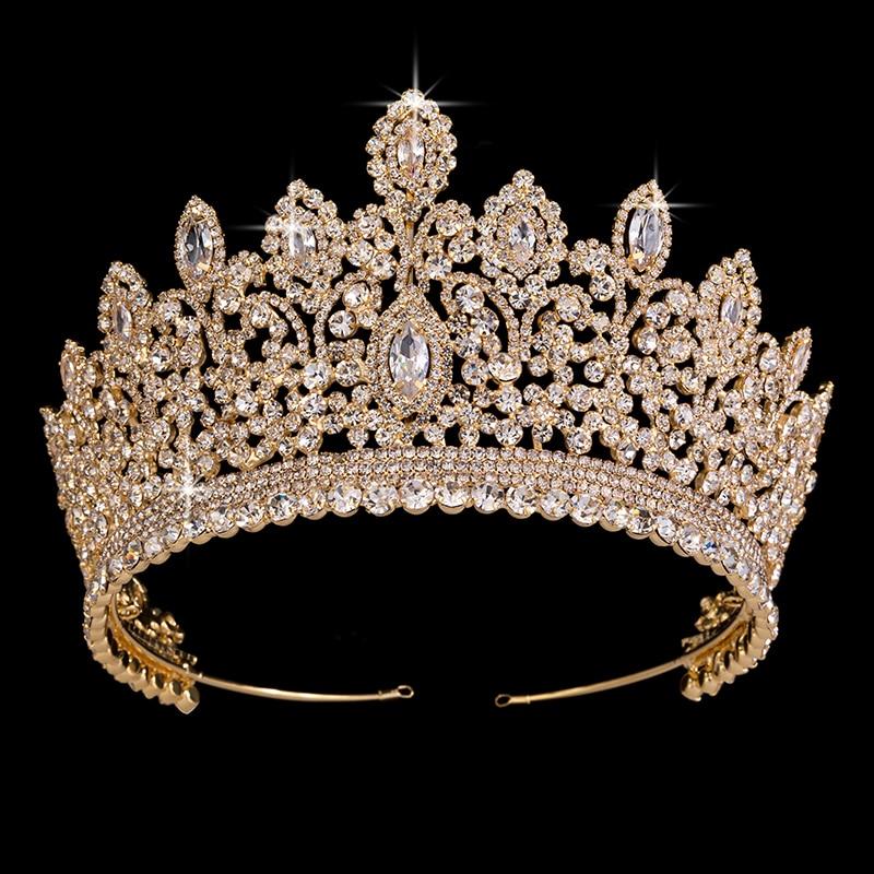 Wedding Crown Jewelry Vintage Ethnic Bridal Hair Tiaras Copper CZ Luxury Rhinestone Tiaras And Crowns BC3715 Couronne De Mariage