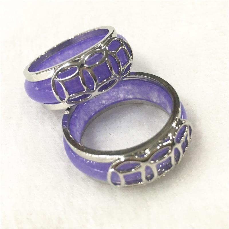2019 nuevo 2 uds. Tallados a mano púrpura Lila Jades hombres/mujeres anillos de regalo