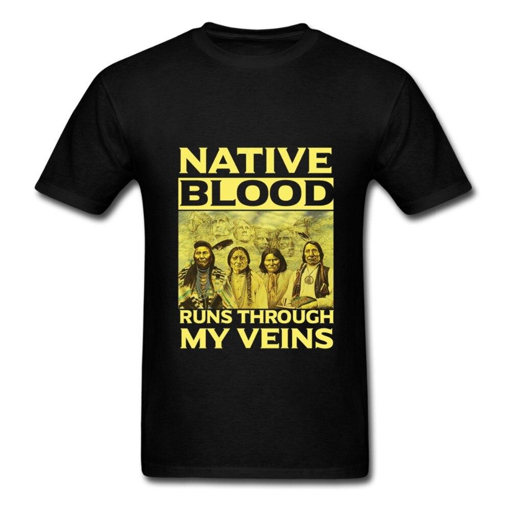 Camiseta para hombre de la India Americana con sangre nativa corriendo por mis venas
