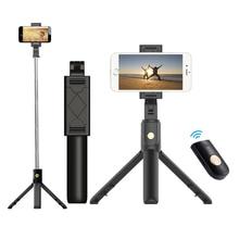 3 en 1 sans fil Bluetooth téléphone tenir Mini Selfie trépied avec télécommande pour iPhone X 8 7 6s plus monopode Portable
