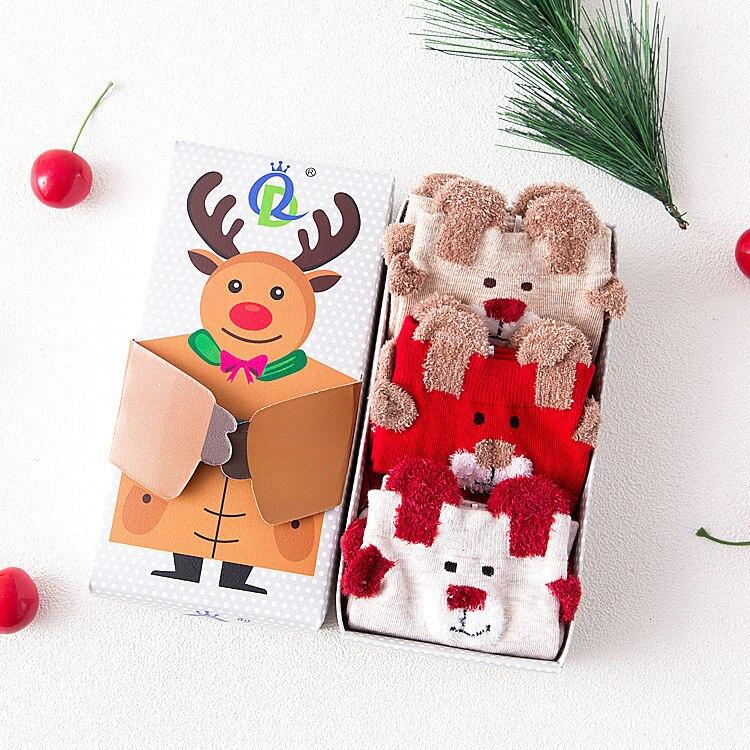 2017 3pairs/box  autumn winter new cartoon Christmas gift red socks Cotton Meias Warm Cute 3d Patterns Socks Women Stretch