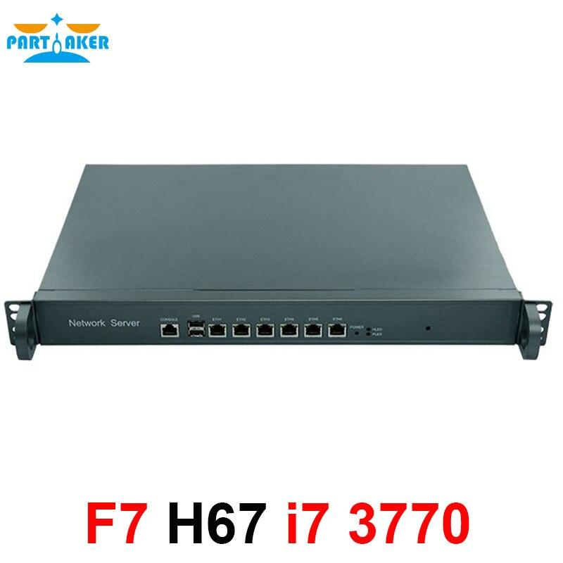 Dispositivo cortafuegos Intel LGA1155 con i7 3770 Proecssor 1U red Firewall de dispositivo H67SL con 6*82583V LAN
