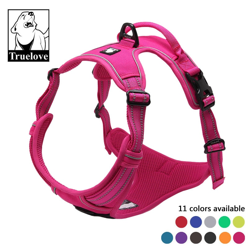 Truelove No Pull Padded Pet Dog Harness 3M Reflective Nylon Front Range Vest Harness for Dogs Adjustable Straps Bulldog Pug