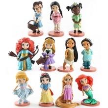 Disney 11 stücke Moana Schnee Weiß Merida Prinzessin Action-figuren Mulan Meerjungfrau Tiana Jasmin Puppe Anime Figur Kind Spielzeug modell geschenk
