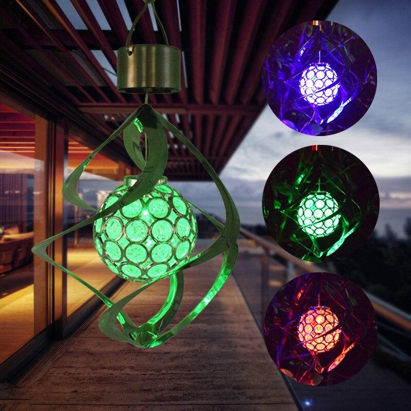 Luz de carillón de viento que cambia de Color Solar, lámpara Solar al aire libre, Spinner espiral colgante impermeable para hogar, suministros de fiesta de jardín