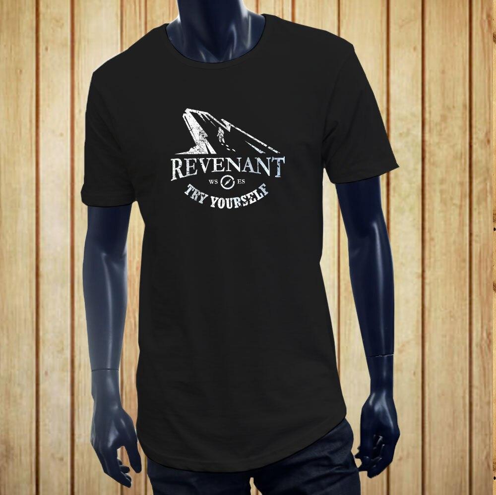 Manga corta para hombres ropa de verano REVENANT TRY YOURSELF montañero HIKER hombres negro largo extendido camiseta