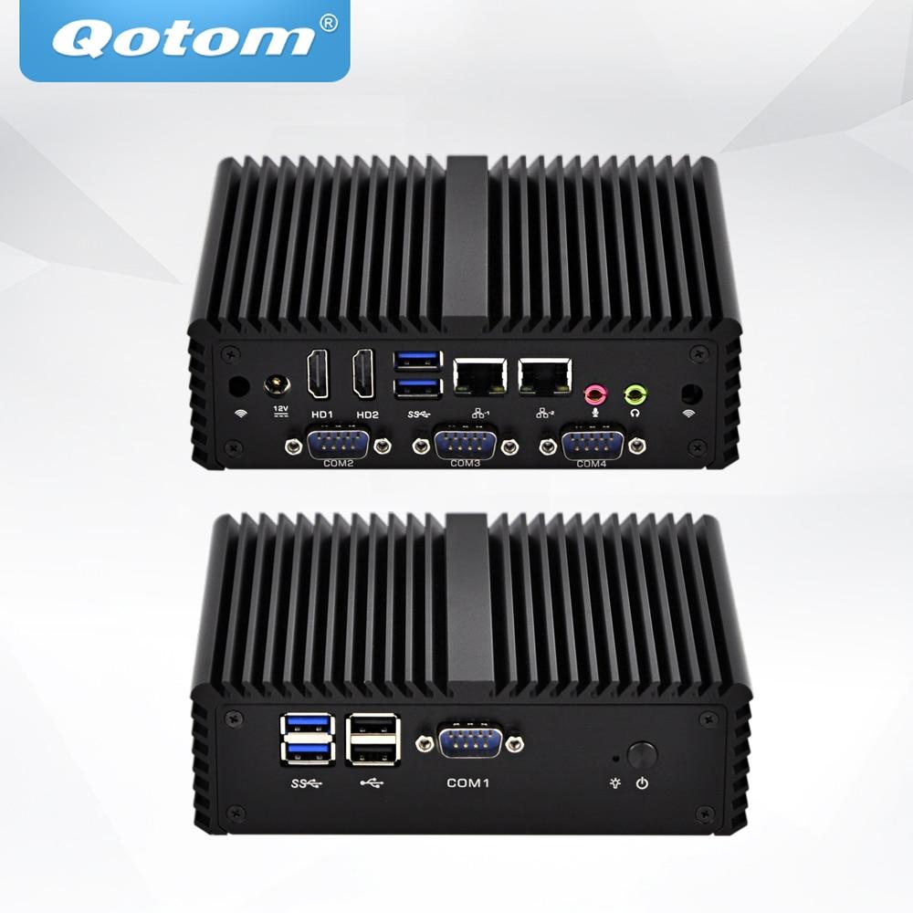 Mini processeur QOTOM Core i3 i5 double LAN 4 Ports sans ventilateur Mini PC industriel X86