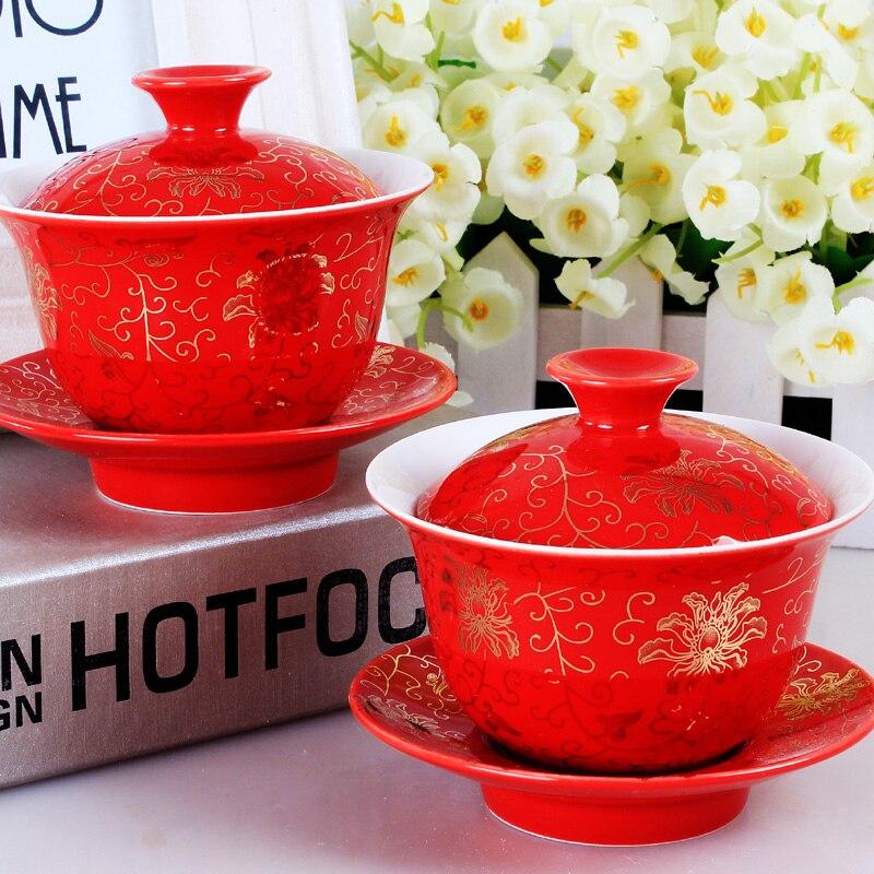 Juego de té nupcial de porcelana gaiwan dragón phoenix estampado amarillo tureen tapa platillo en venta taza mat chino taza Bol set 100ml rojo