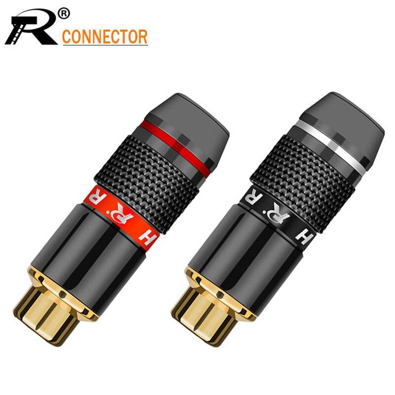 150 قطعة/الوحدة RCA الإناث جاك موصل الذهب مطلي مكبر الصوت RCA مقبس AV فونو كابل سلك موصل أحمر + أسود